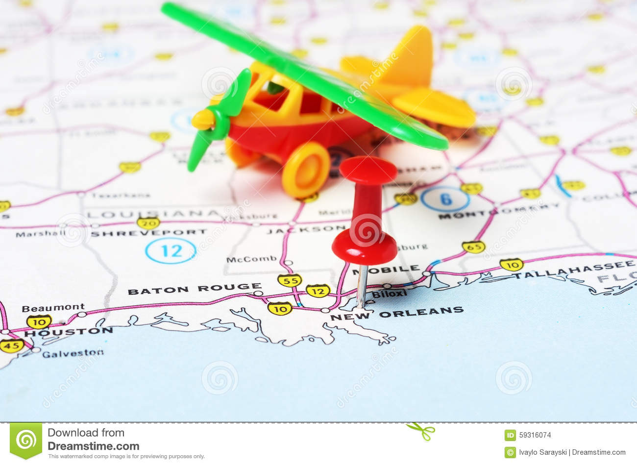 New Orleans USA Map Flight Stock Photo Image - Map usa new orleans