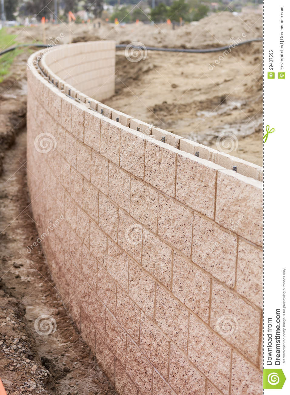 New Outdoor Retaining Wall Being Built Royalty Free Stock