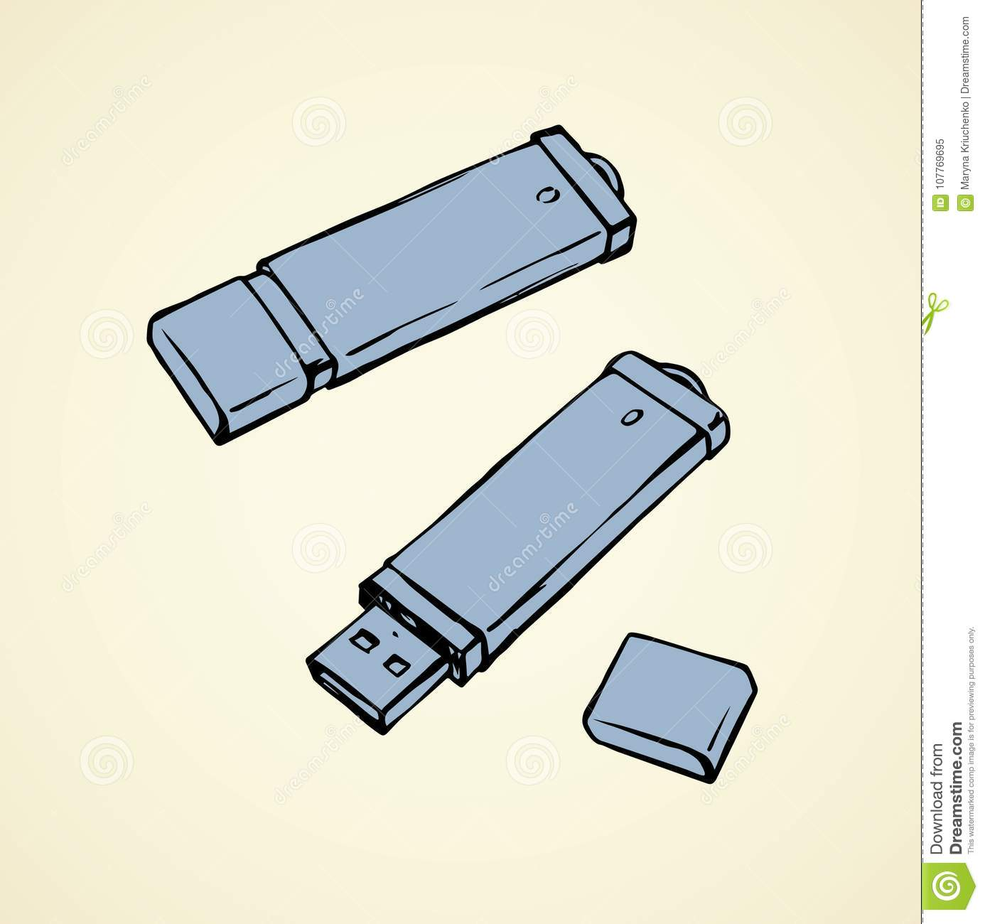 Flash Drive  Vector Drawing Stock Vector - Illustration of