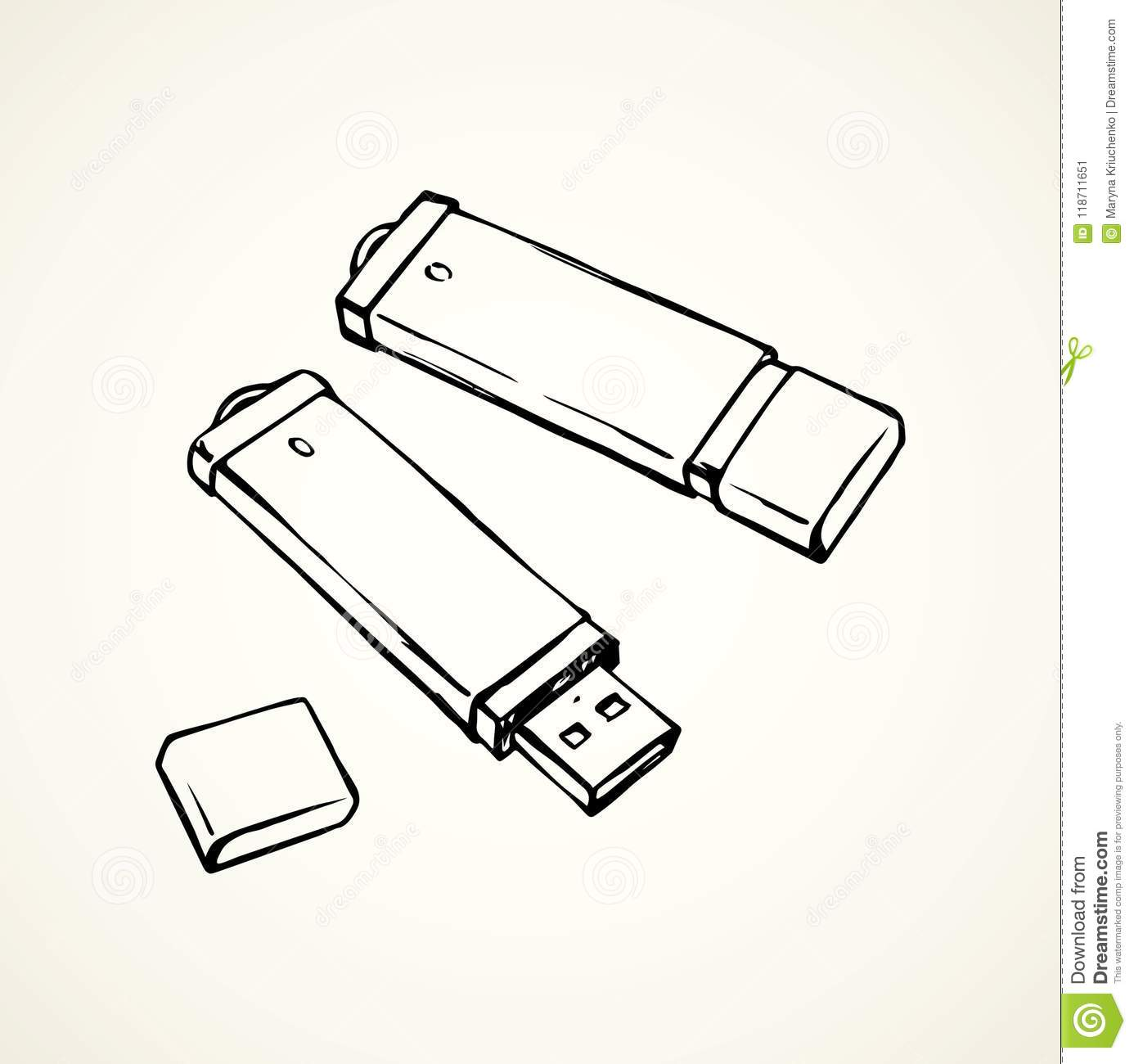 Flash Drive  Vector Drawing Stock Vector - Illustration of object