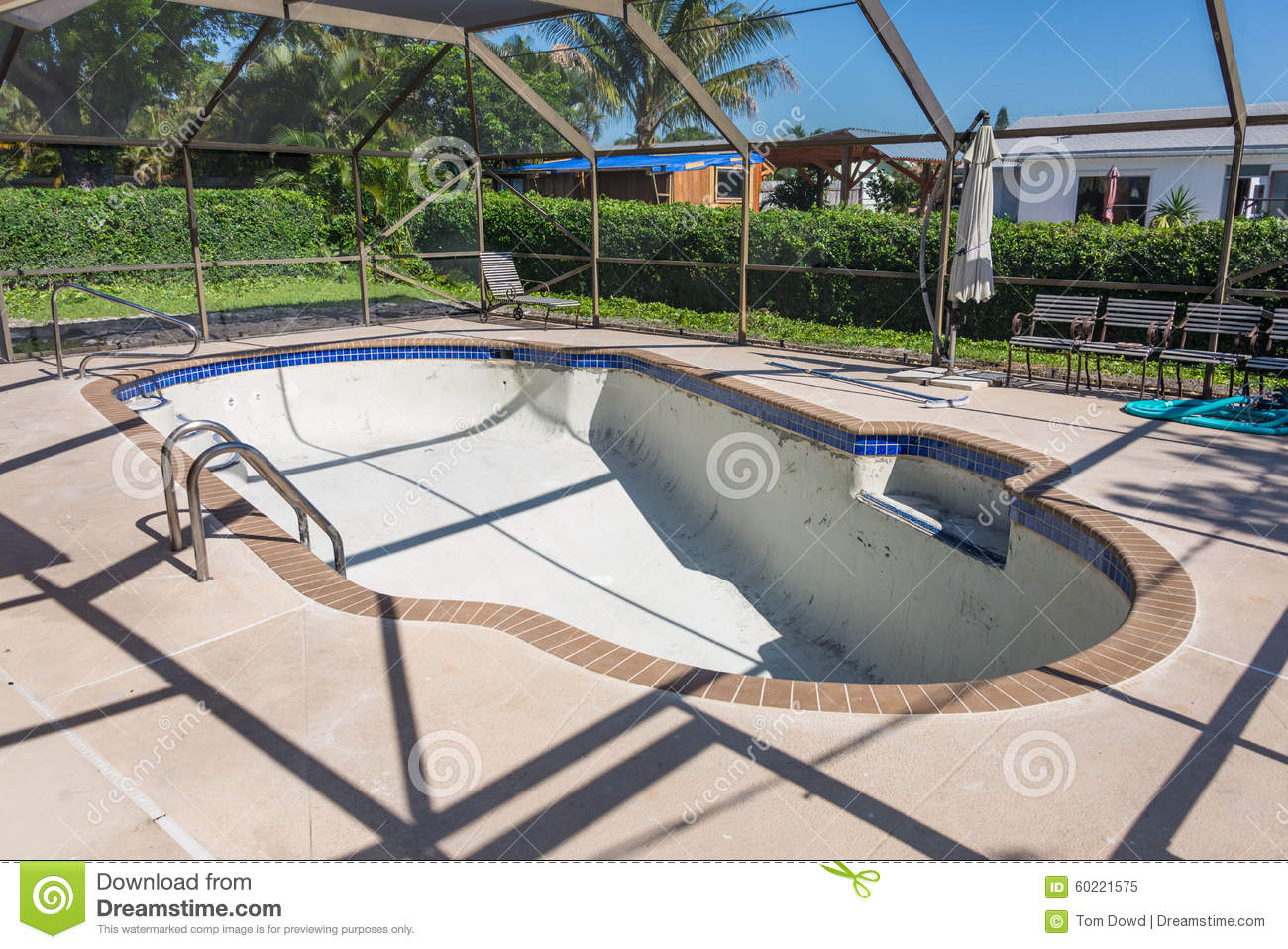 New Pool Tile Border Grout Work Remodel Stock Photo