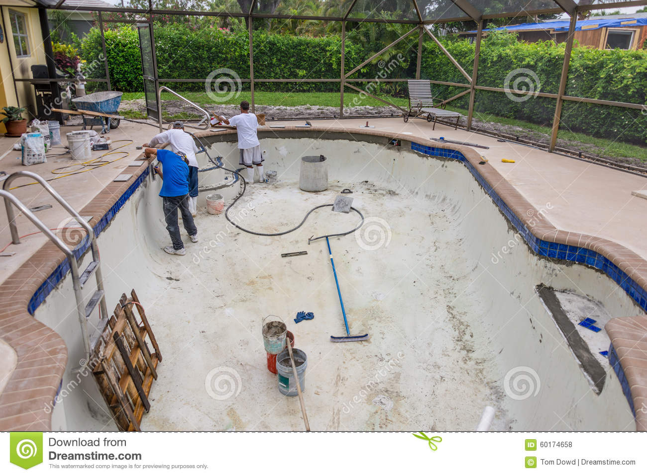 New Pool Tile Border Pool Remodel Editorial Stock Photo - Image of ...