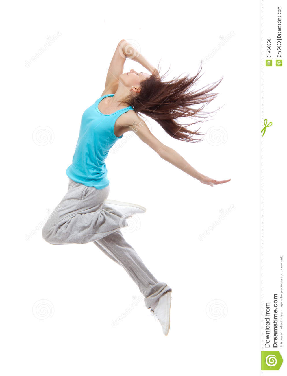 Pretty Modern Slim Hip-hop Style Teenage Girl Jumping ...