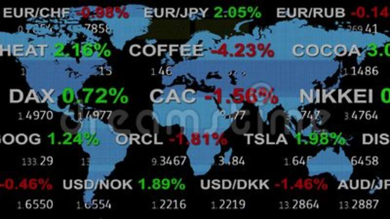 Forex stock market ticker board tape and holographic earth map on  background - new quality financial business animated