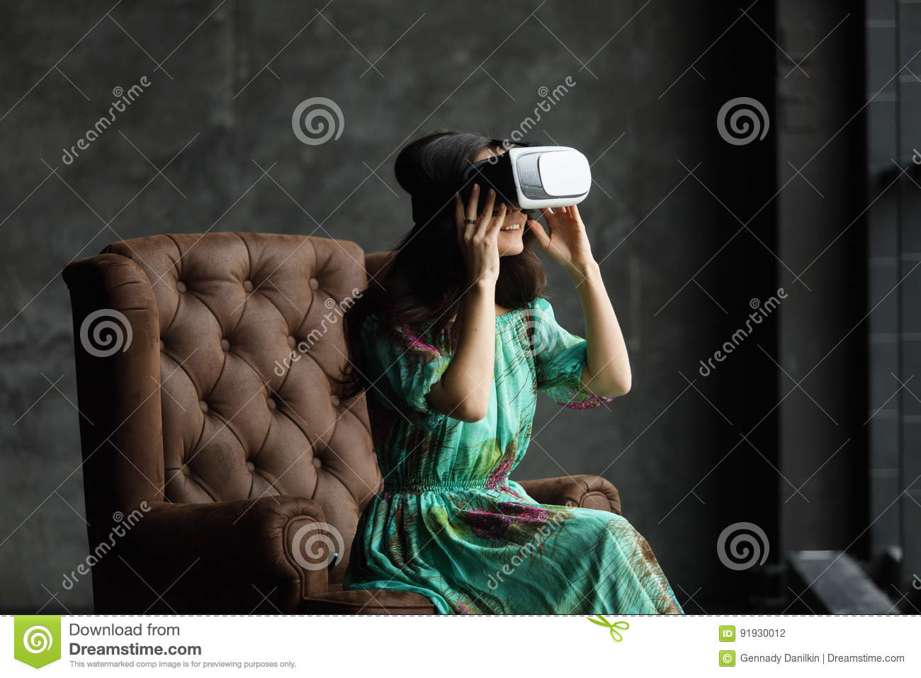 4449b329ed18 New Reality Is Here Handsome Young Woman In VR Headset