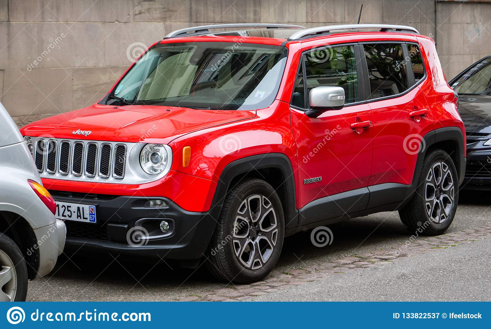 Red Jeep Renegade >> New Red Jeep Renegade Parked Between To Cars Editorial