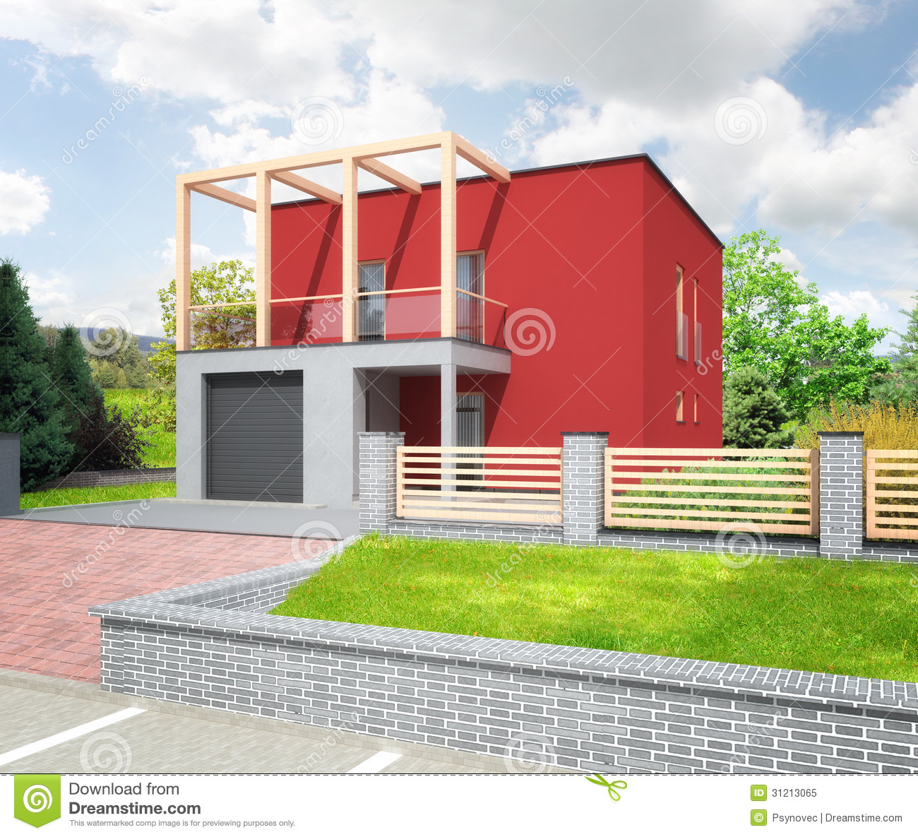Modern House Red Roof: New Red Modern House Stock Illustration. Image Of