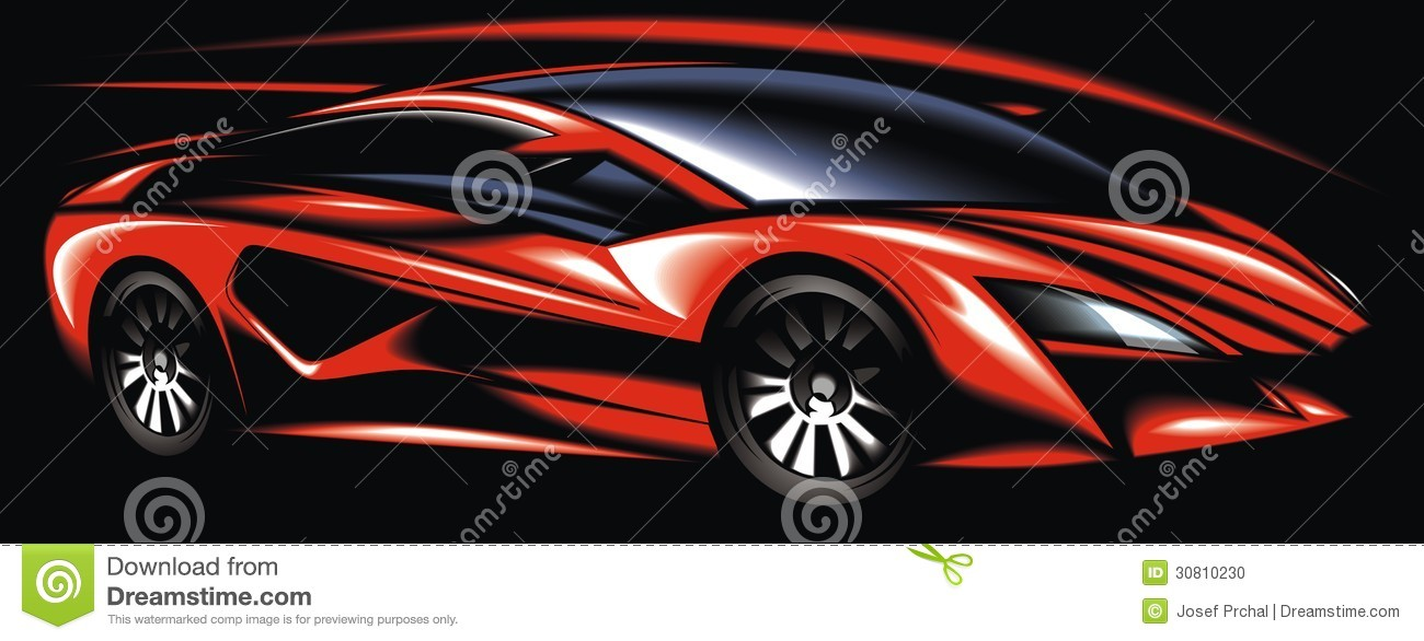 New Red Sport Car Design Made Be Me Stock Vector Illustration Of