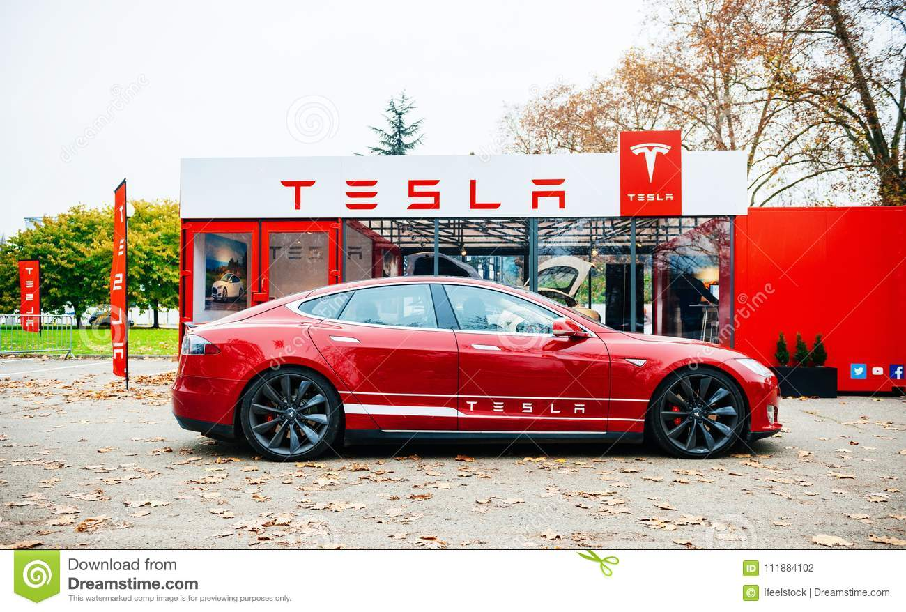 New Red Tesla Model S Electric Car Editorial Photography - Image of