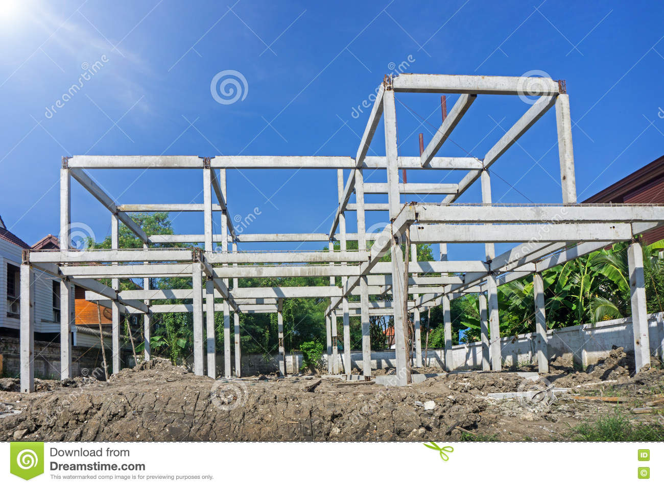 New Residential Construction Home Concrete Framing Stock Image ...