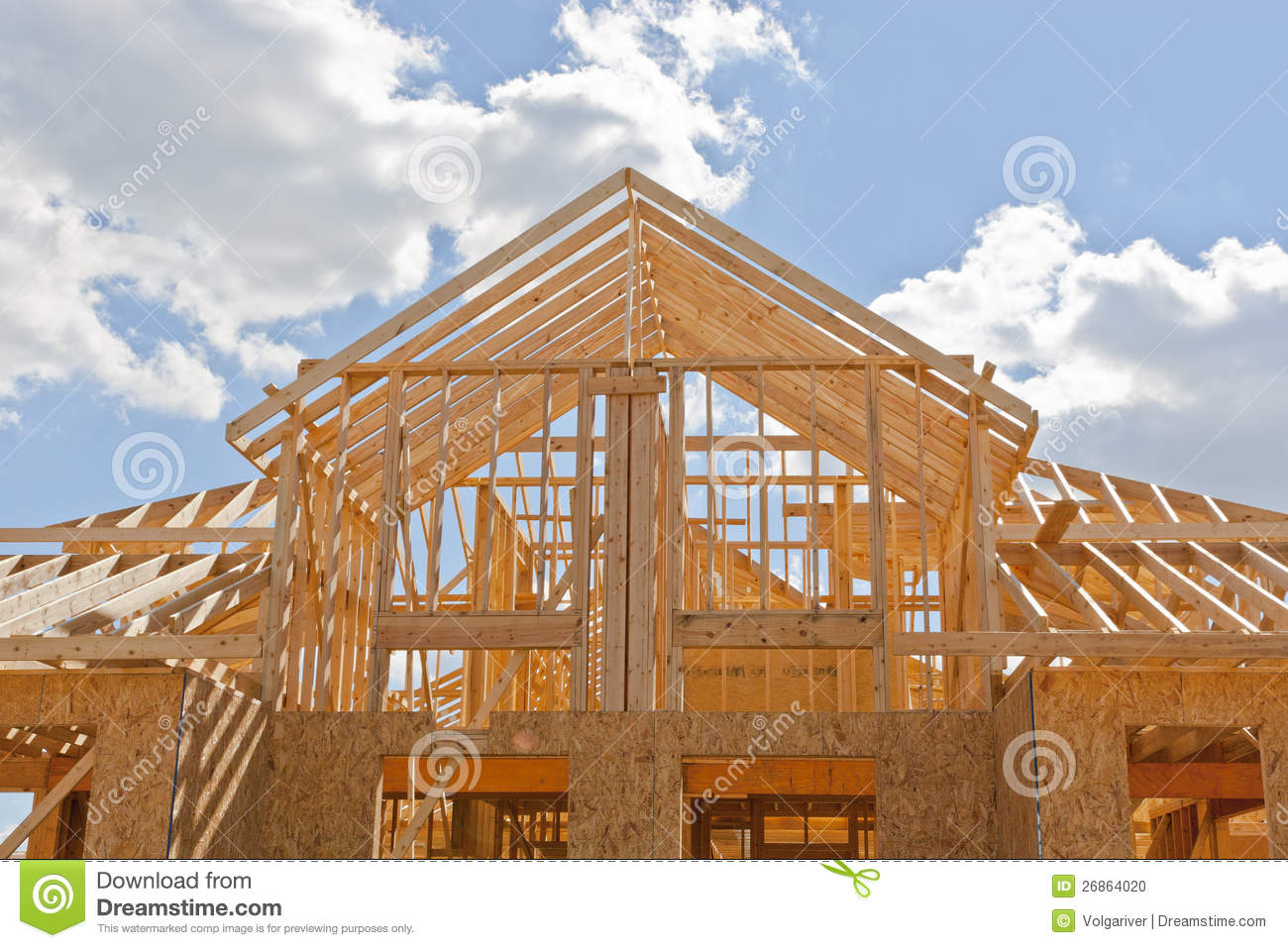 New Residential Construction Home Framing Stock Photo