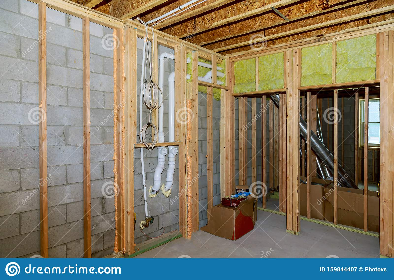 Image of: New Residential Construction Home Framing With Basement View Stock Image Image Of Residential Construction 159844407