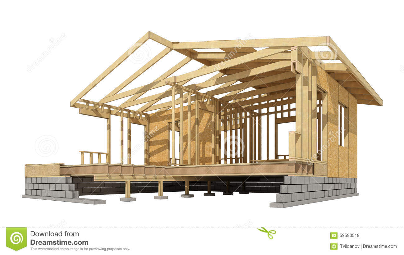 Building A New House Cartoon : New residential construction home wood framing stock