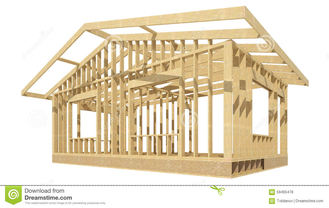 New Residential Construction Home Wood Framing Stock Illustration Image 59465478