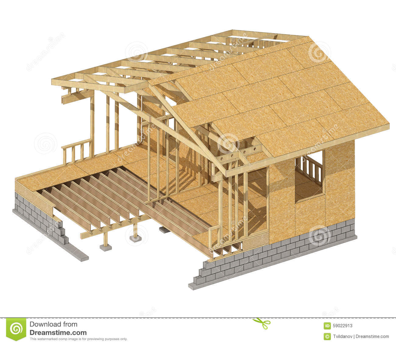 -construction-home-wood-framing-three-dimensional-image-wooden-frame ...