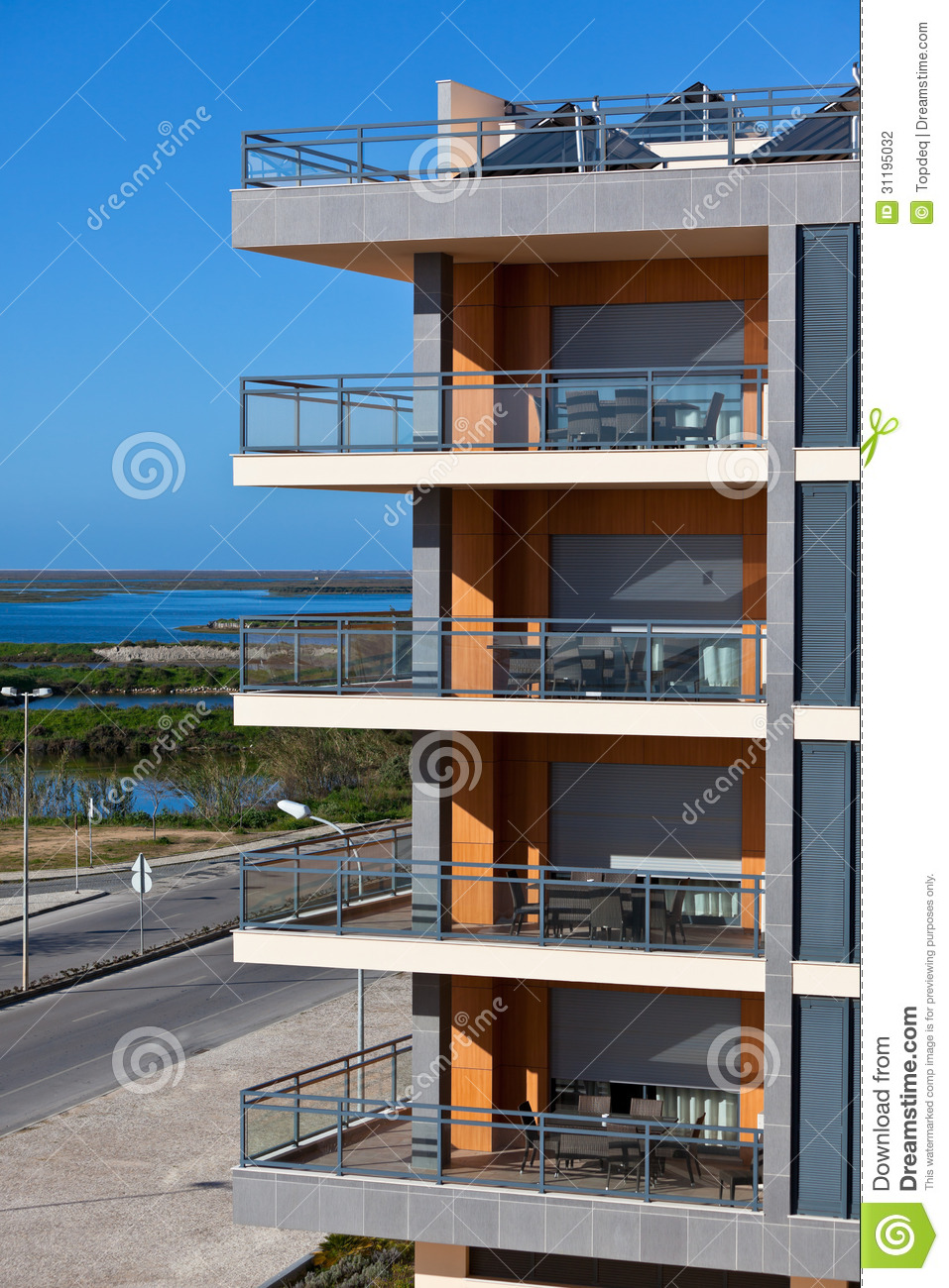 New resort apartment house against bright blue sky stock for Right house