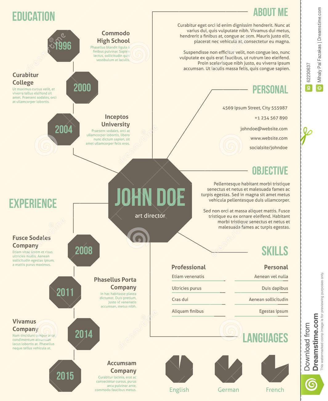 new resume cv template for employment stock vector