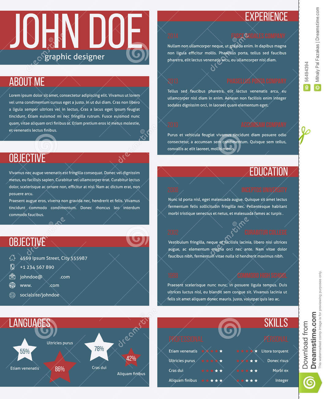 new resume cv template with separate categories stock illustration