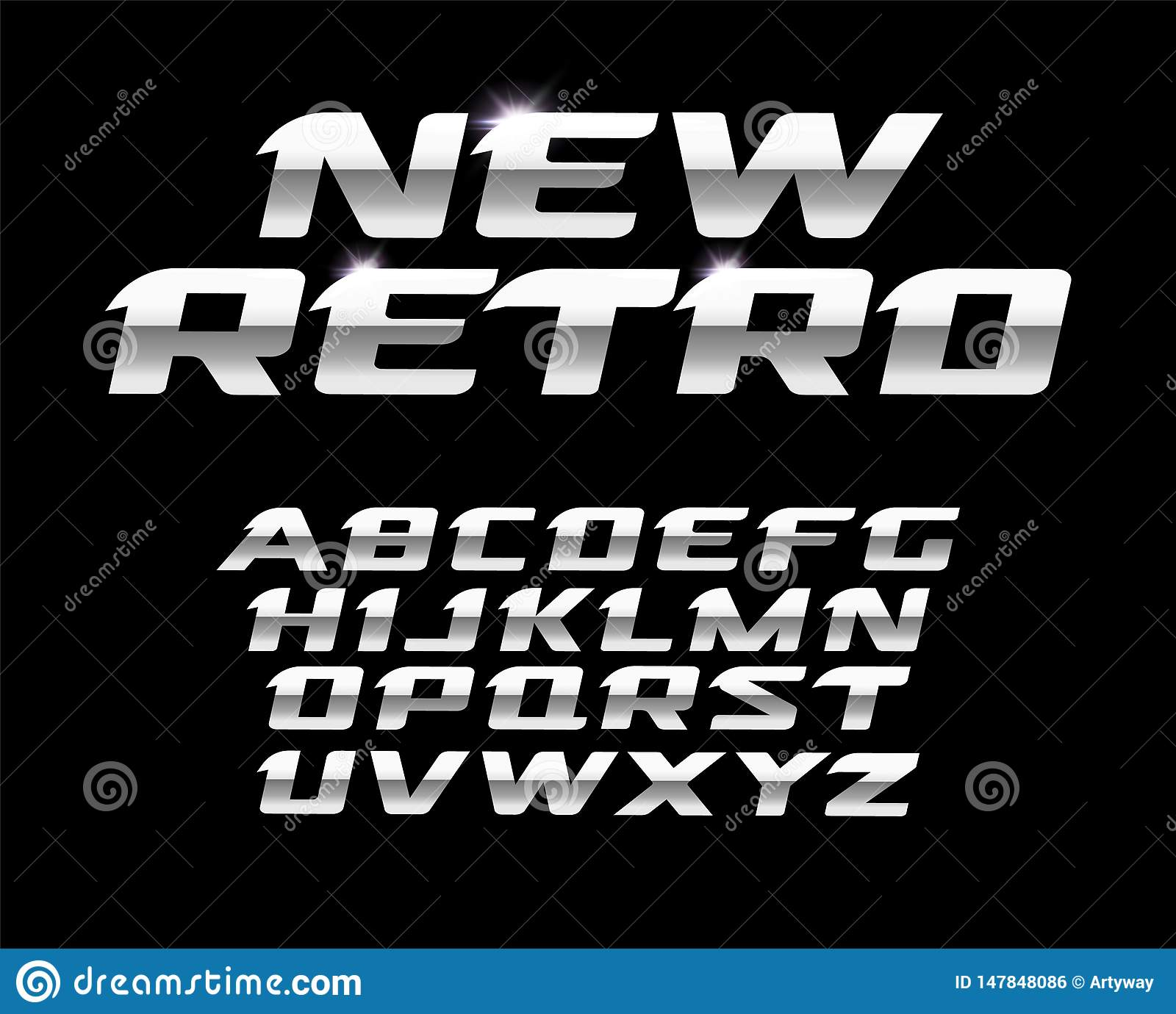 New Retro Letters Set  Polished Steel Texture, Metal Style