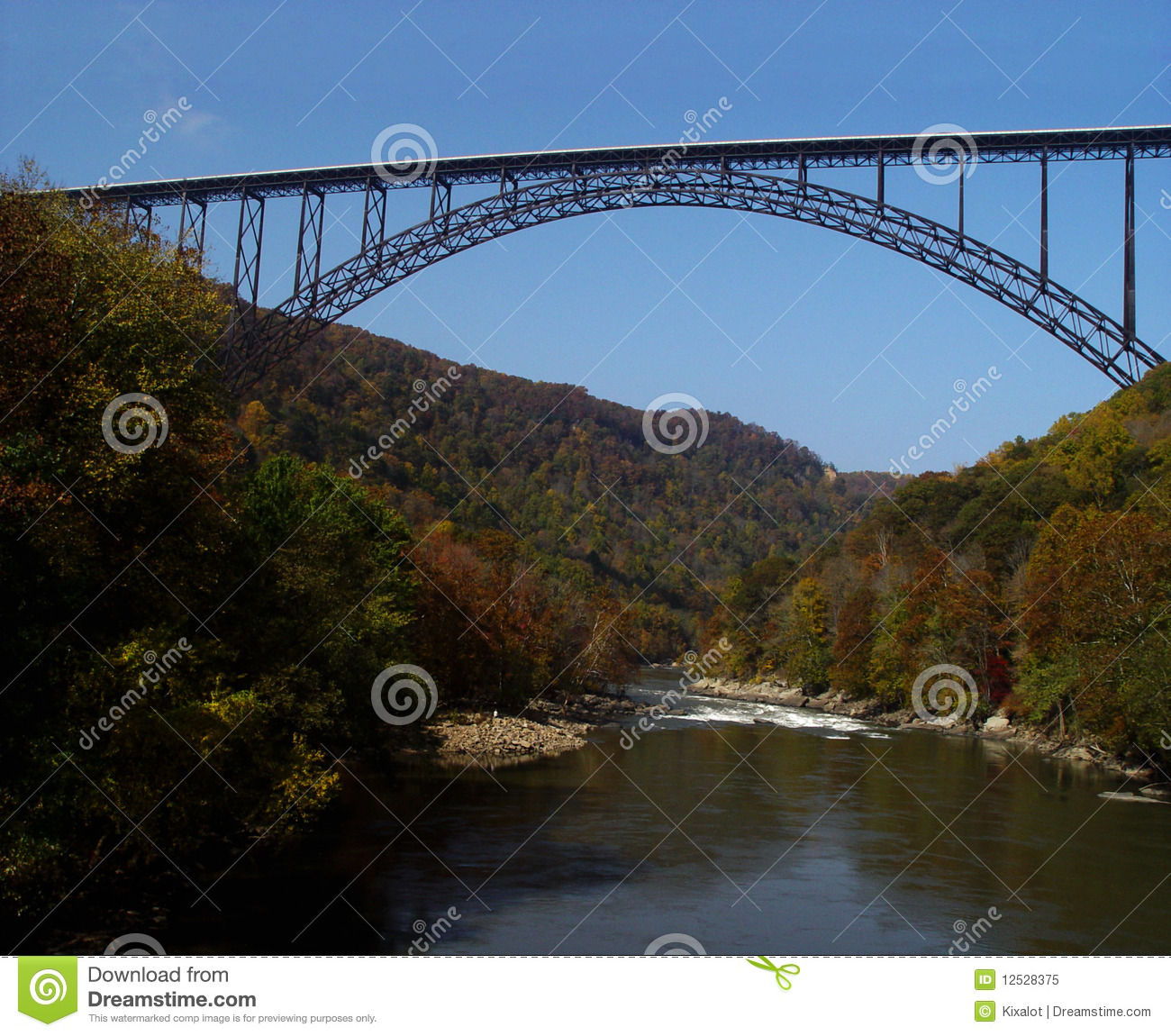 steel-arch  New River Gorge Bridge in West Virginia spans the river    New River Gorge Bridge Fall