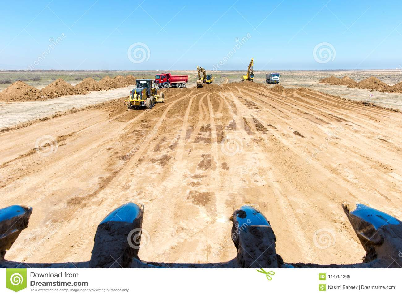 New Road Construction In Process  Stock Photo - Image of loading