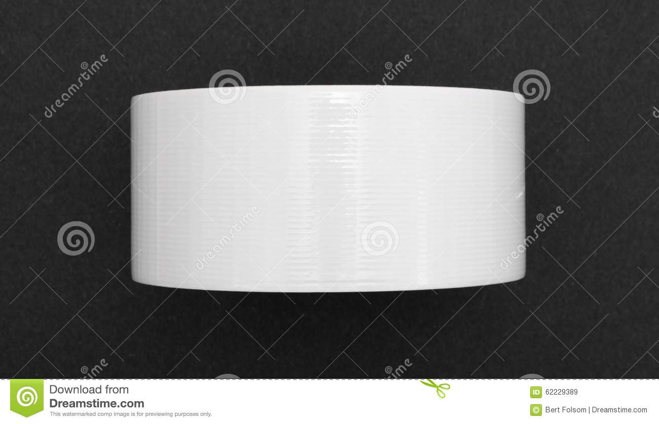 new roll of white duct tape on black craft paper stock. Black Bedroom Furniture Sets. Home Design Ideas