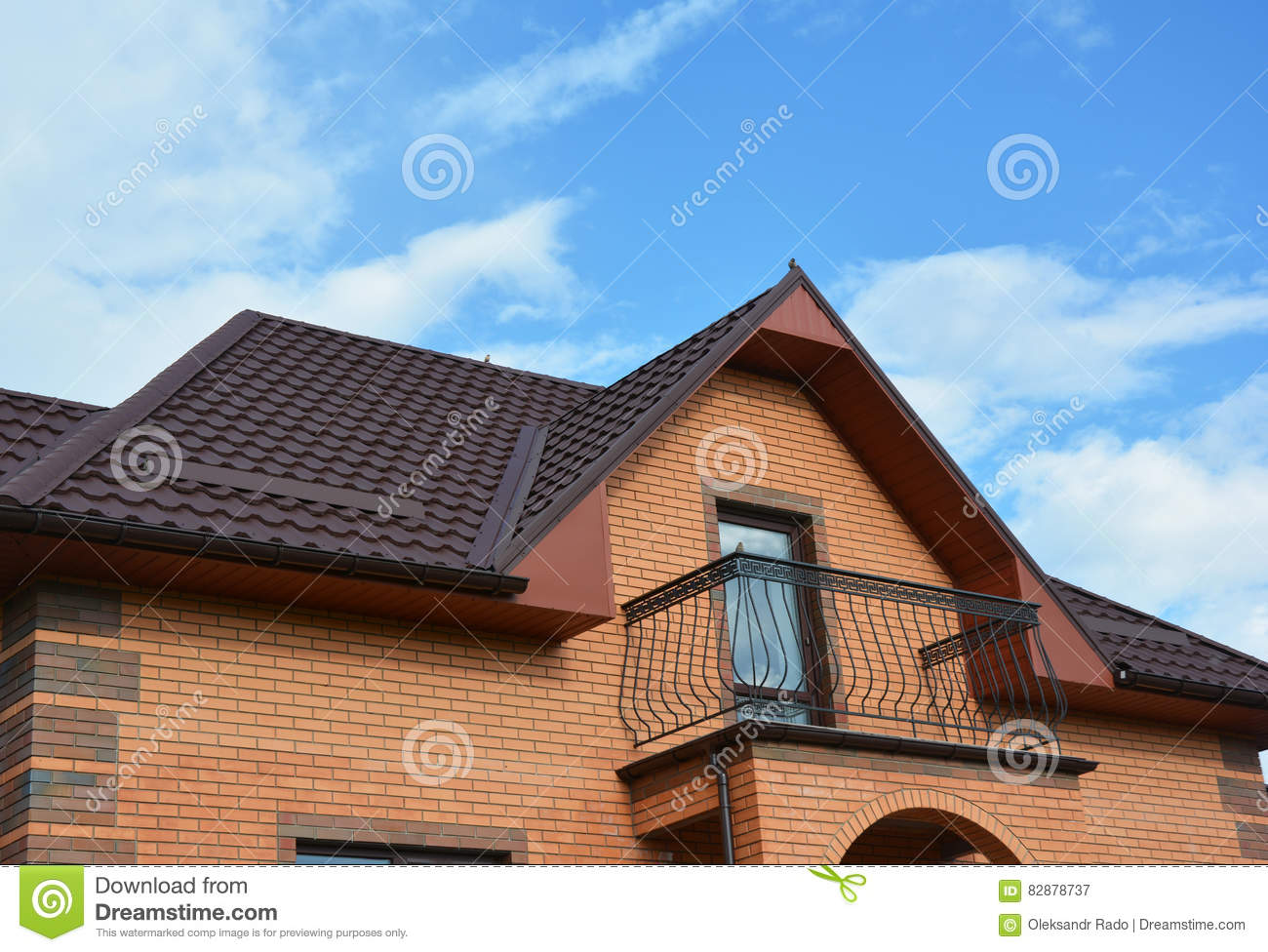 New roofing construction with attic balcony rain gutter for New roof design
