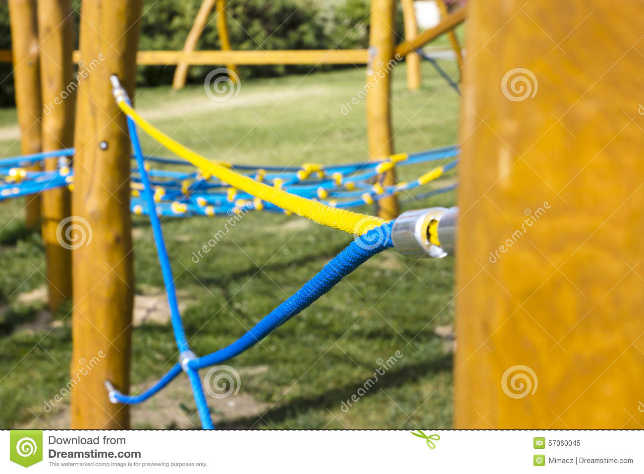 New Rope climbing frame stock image. Image of blue, playground ...