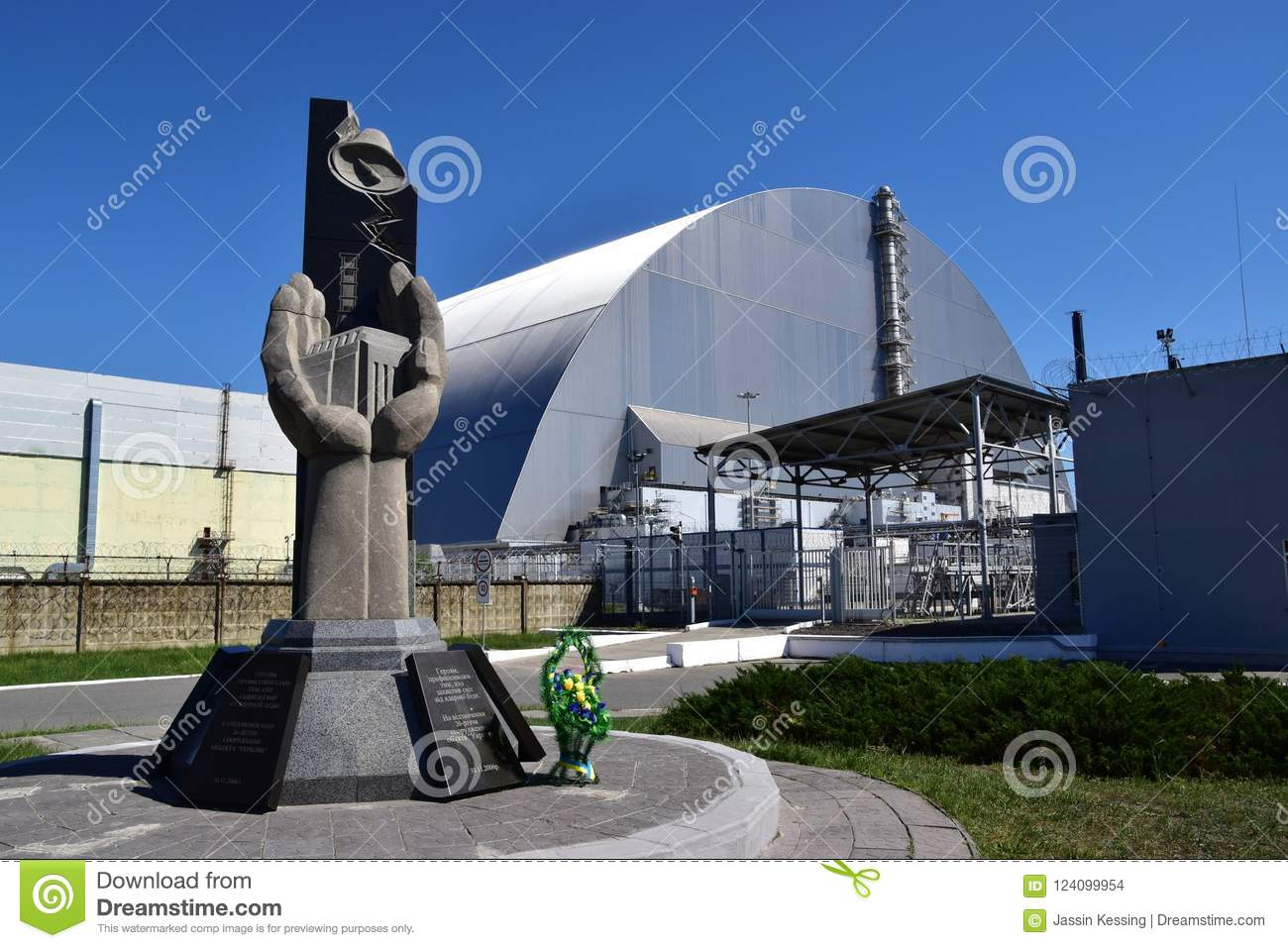 Chernobyl Nuclear Power Plant Sarcophagus And Memorial