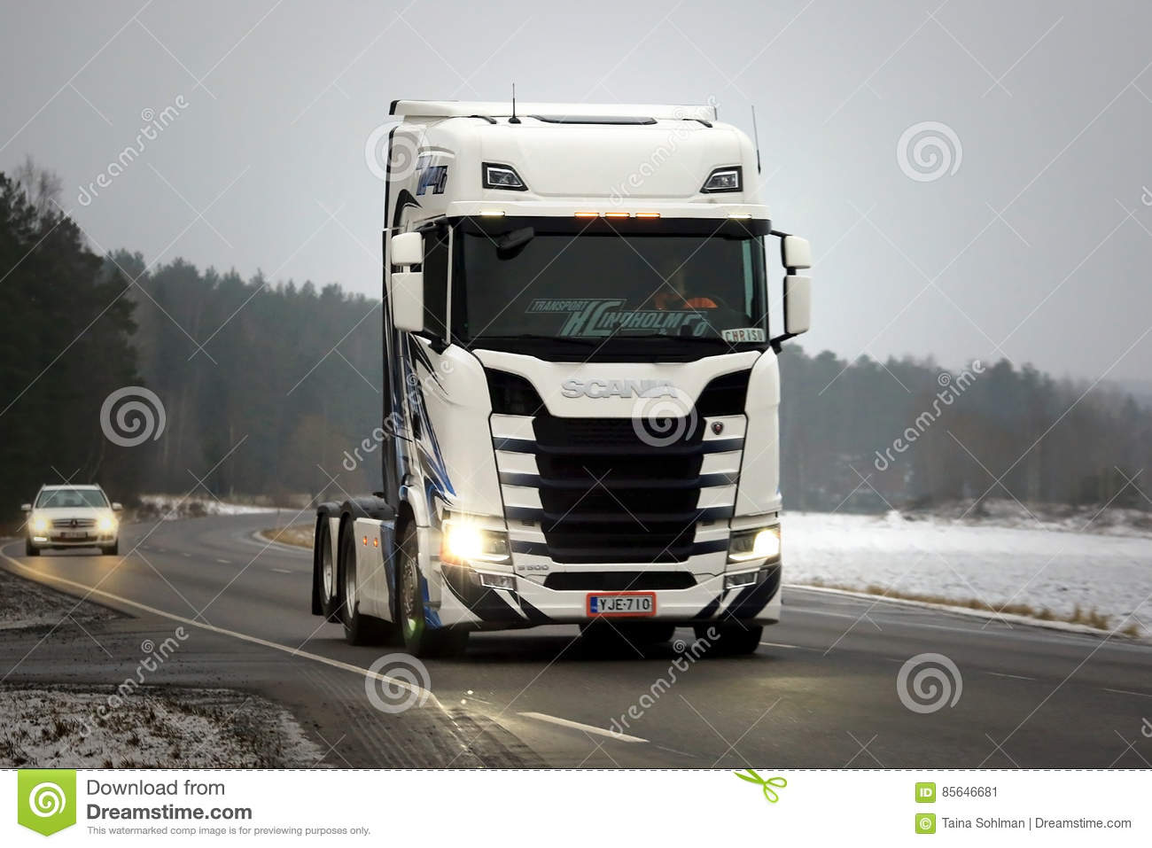 new scania s500 truck bobtail in winter editorial photo image of next finland 85646681. Black Bedroom Furniture Sets. Home Design Ideas