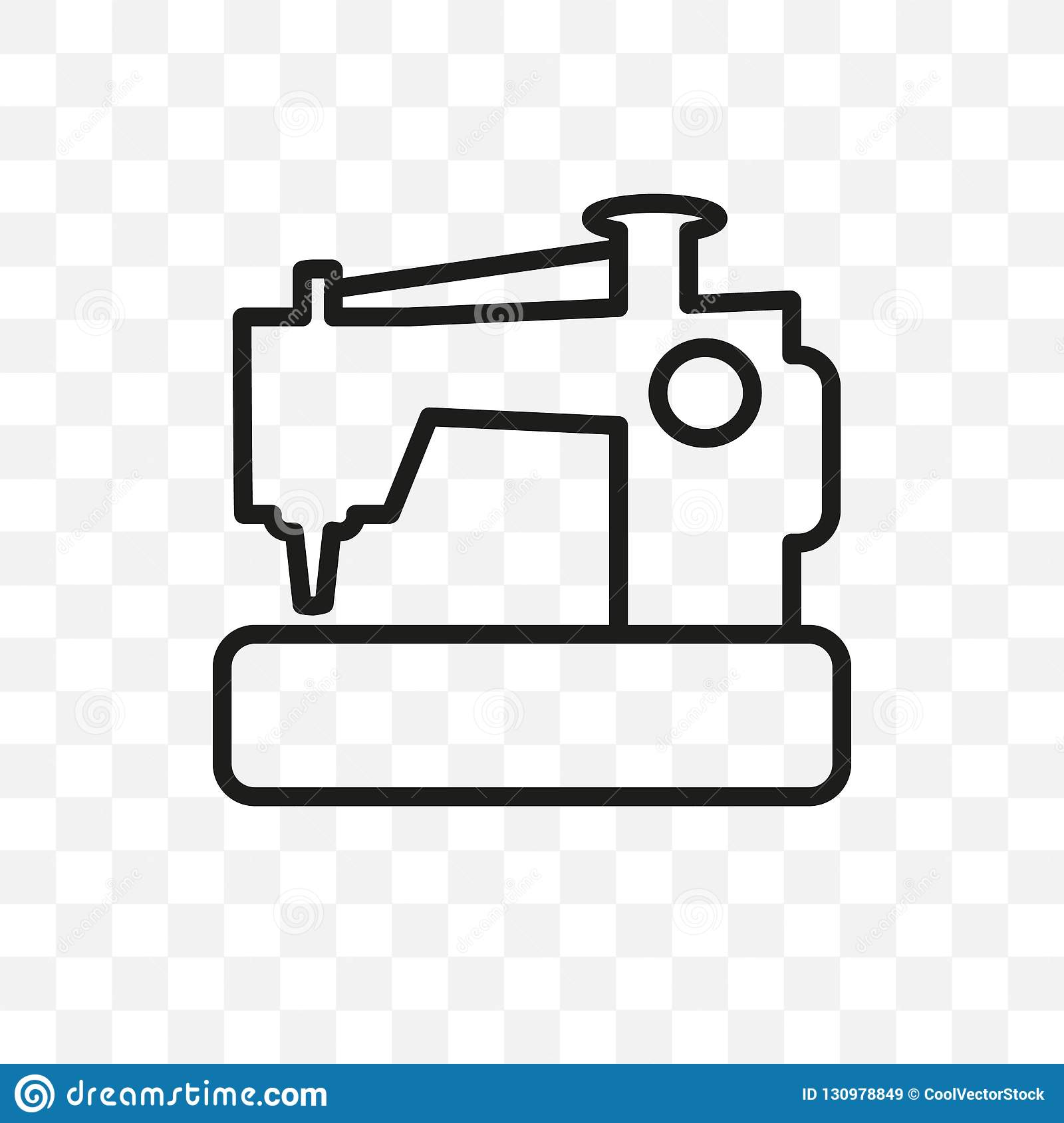 New Sewing Machine Vector Linear Icon Isolated On Transparent