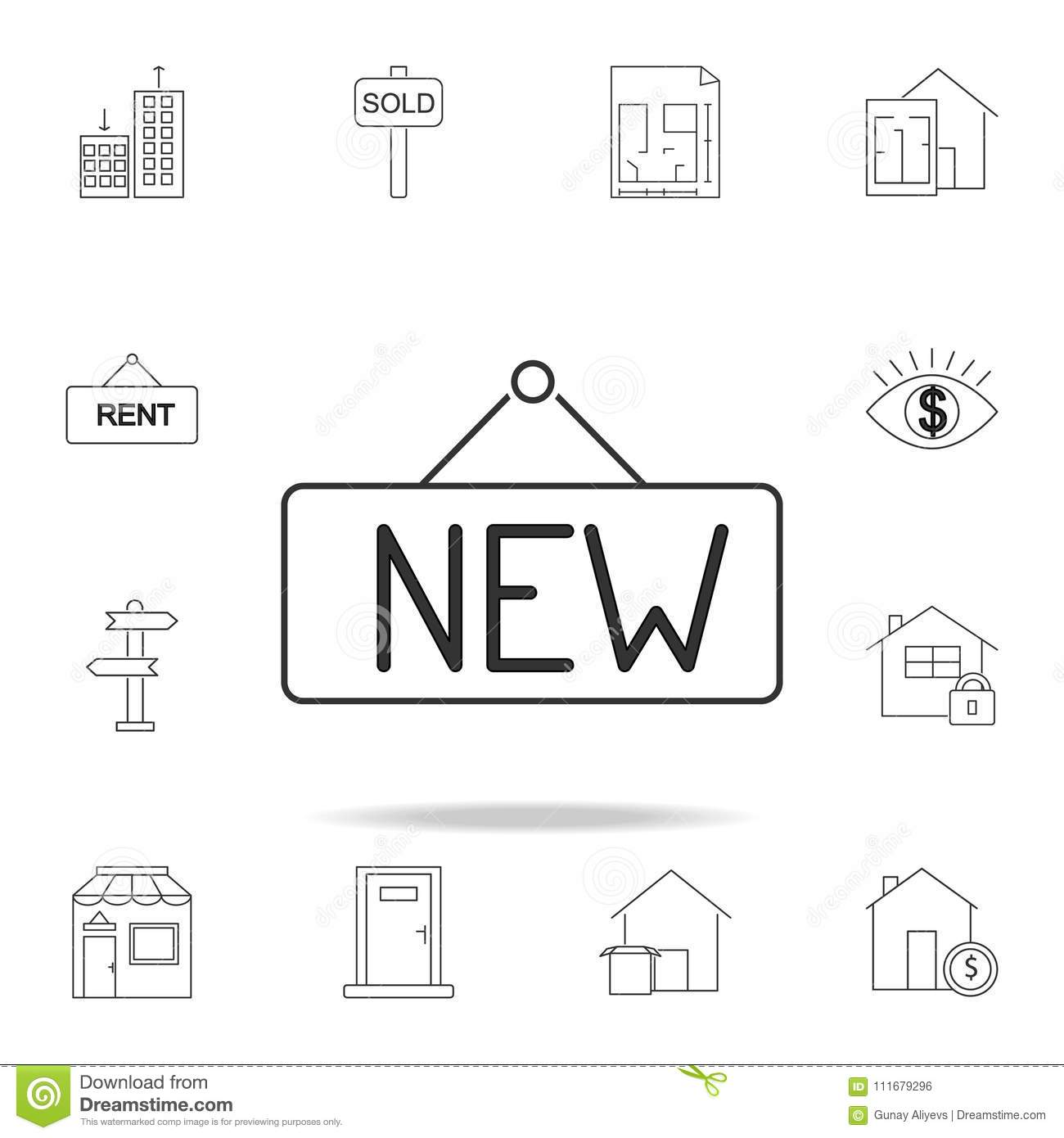 New sign line icon. Set of sale real estate element icons. Premium quality graphic design. Signs, outline symbols collection icon