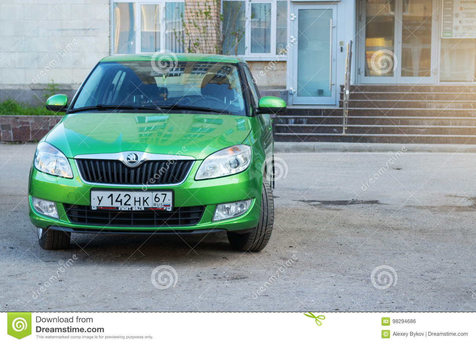 New Skoda Fabia Parked On Street Near House. Editorial Photo - Image ...