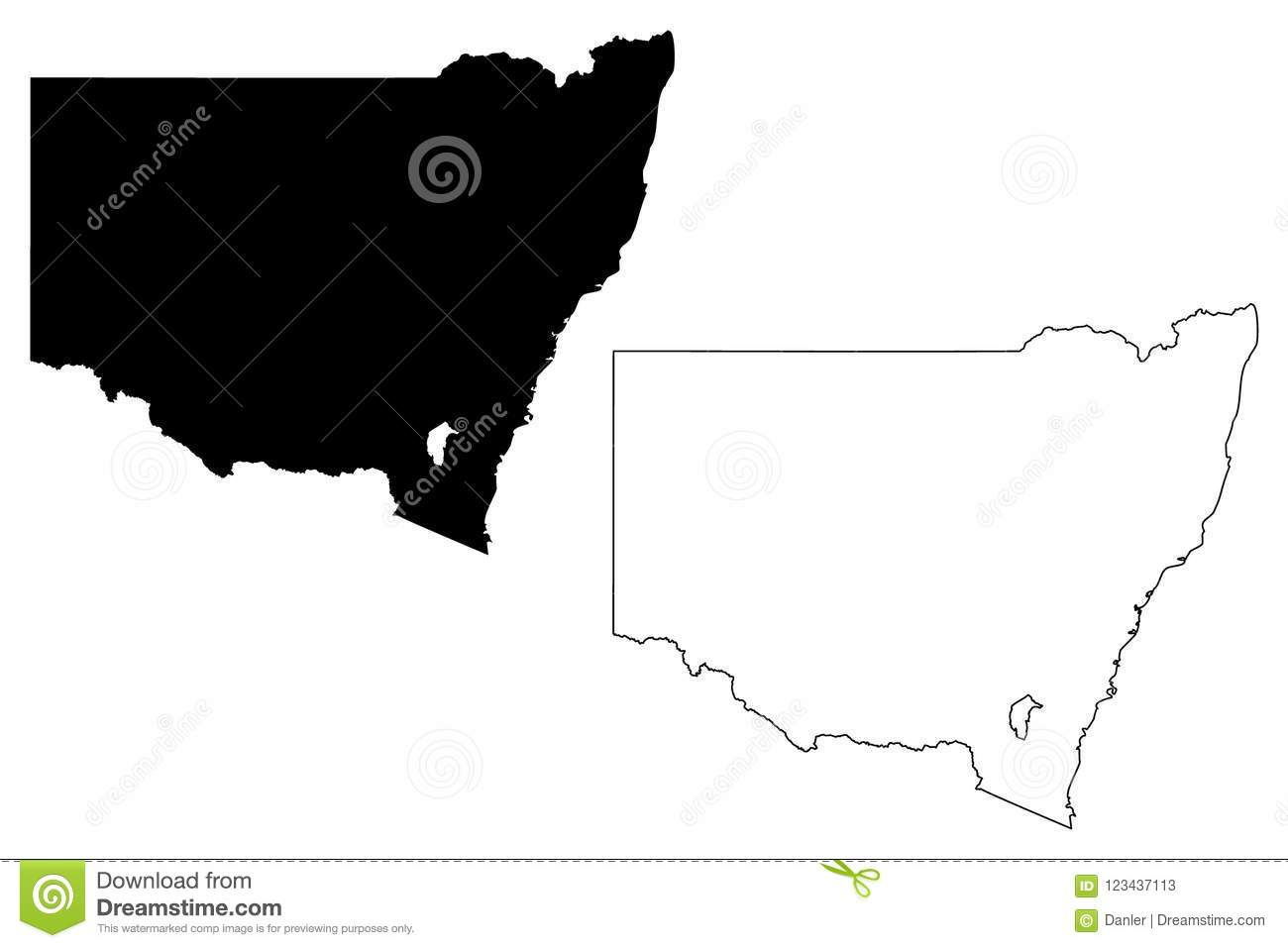 Australia Map States And Territories.New South Wales Map Vector Stock Vector Illustration Of Outline
