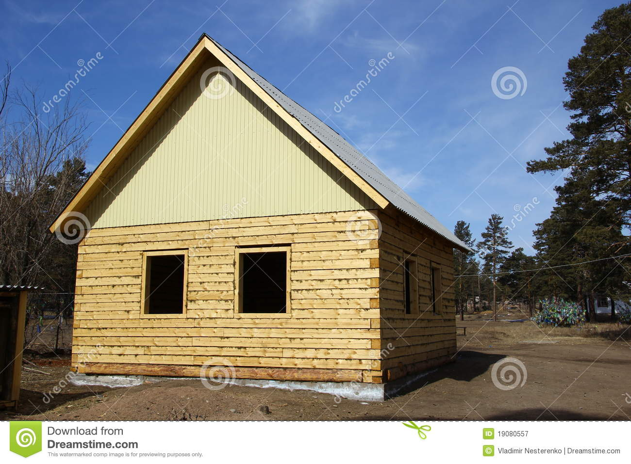 The new square log house stock image image of suburb for Square log home