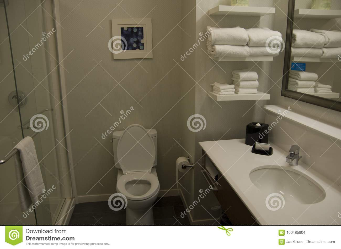 Download Small Neat Hotel Bathroom Design Stock Photo   Image Of Interior,  Hotel: 100485904