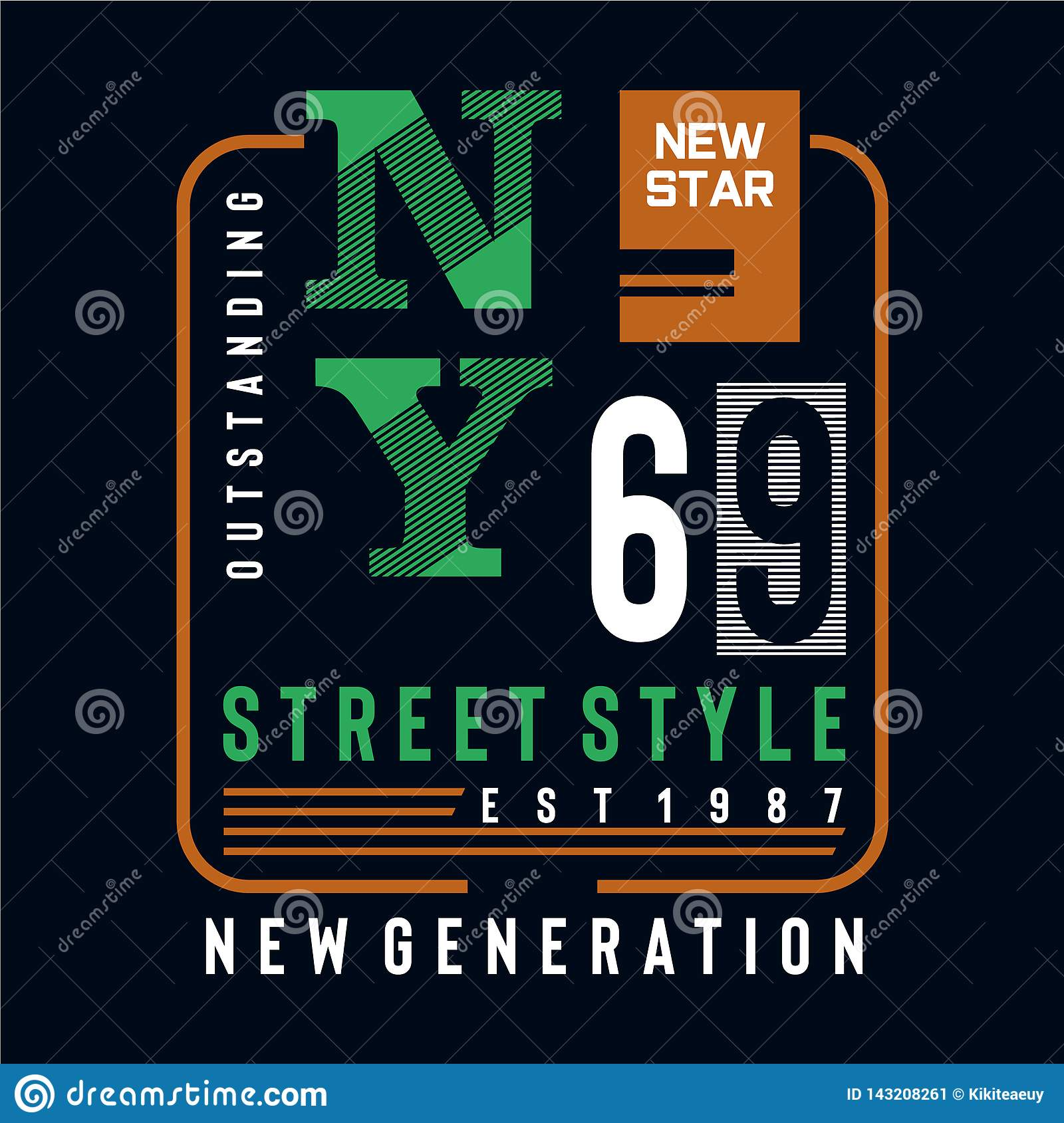 New star street style typography design tee for t shirt
