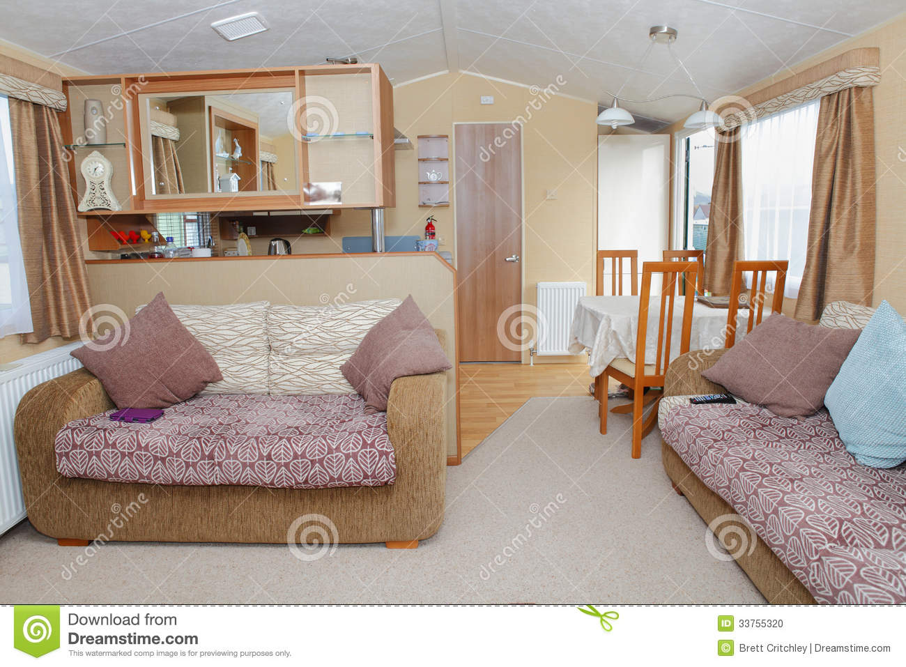 Download New Static Home Caravan Interior Stock Photo