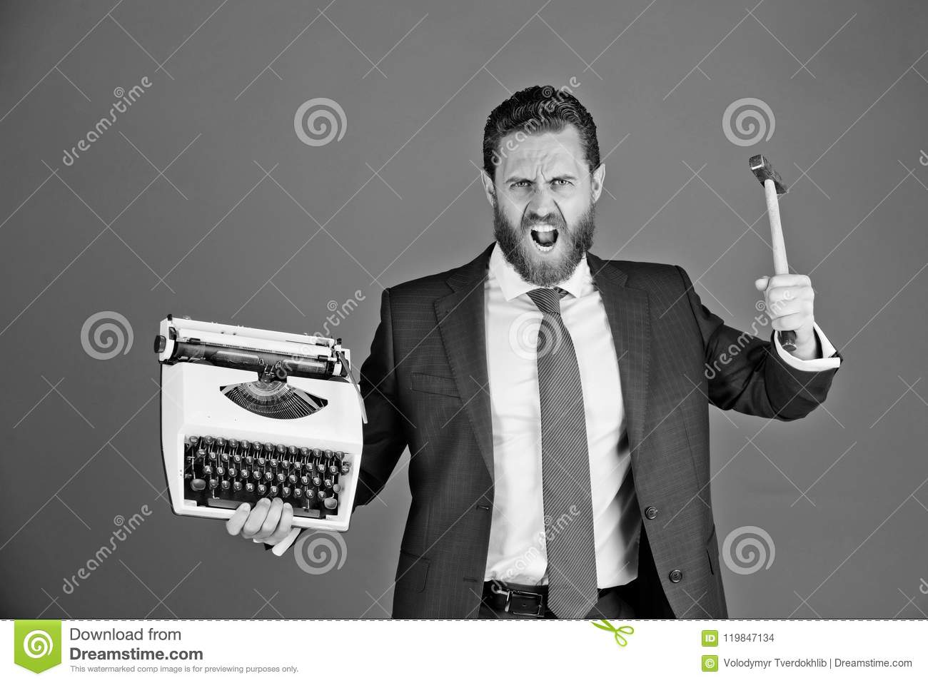 new technologies business man aggressive businessman with  new technologies business man with typewriter aggressive businessman hold  hammer on red background failure and challenge crisis and problem