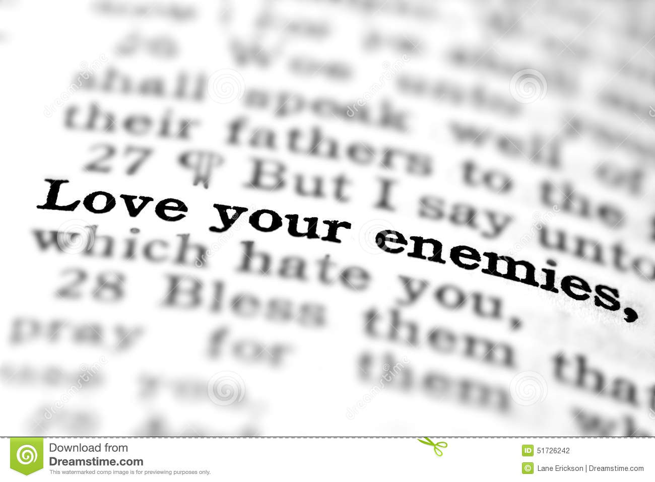 new testament scripture quote love your enemies stock photo image