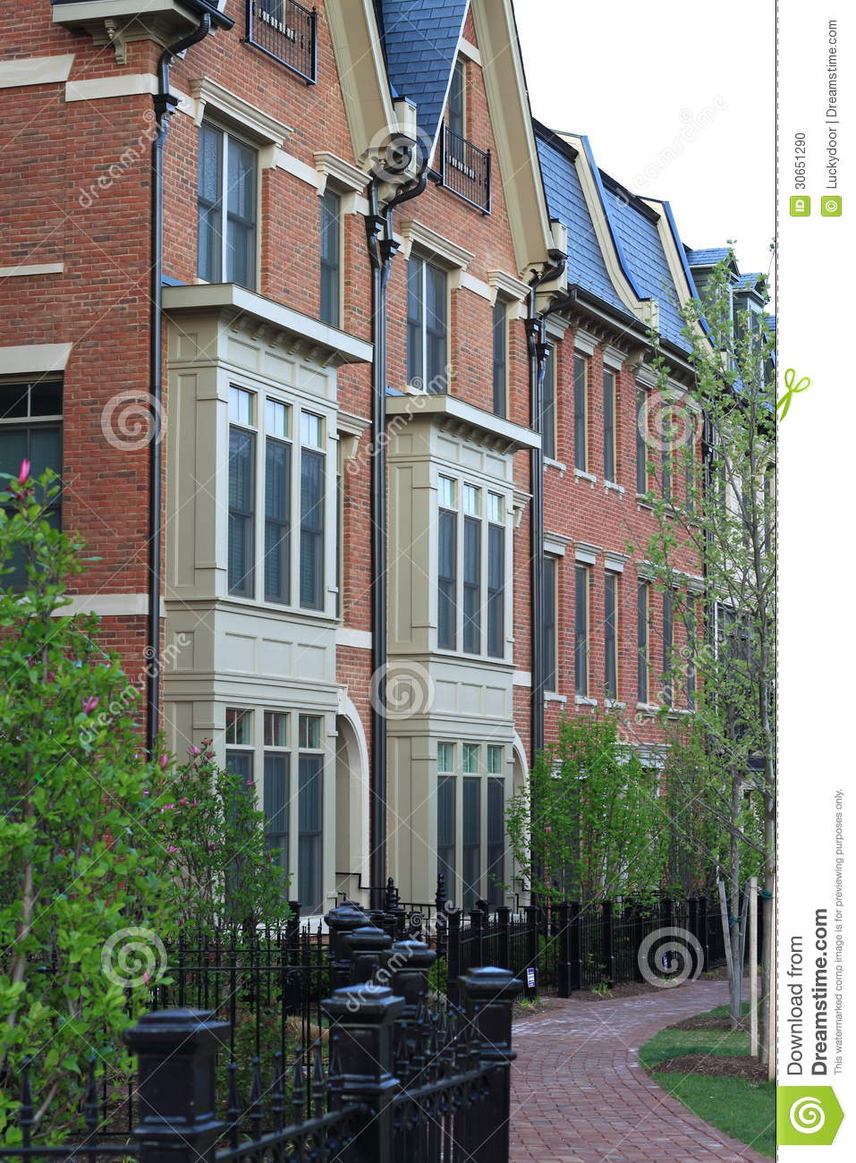 City Townhouses Stock Photo Image Of Fence American