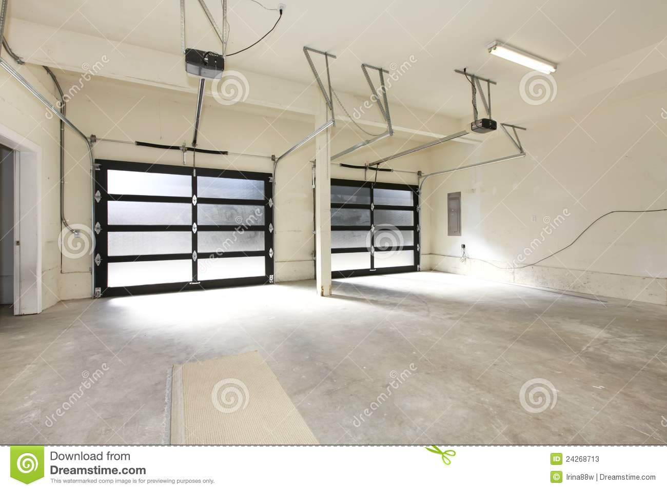 New Two Car Garage With Glass Doors Stock Image Image Of Modern