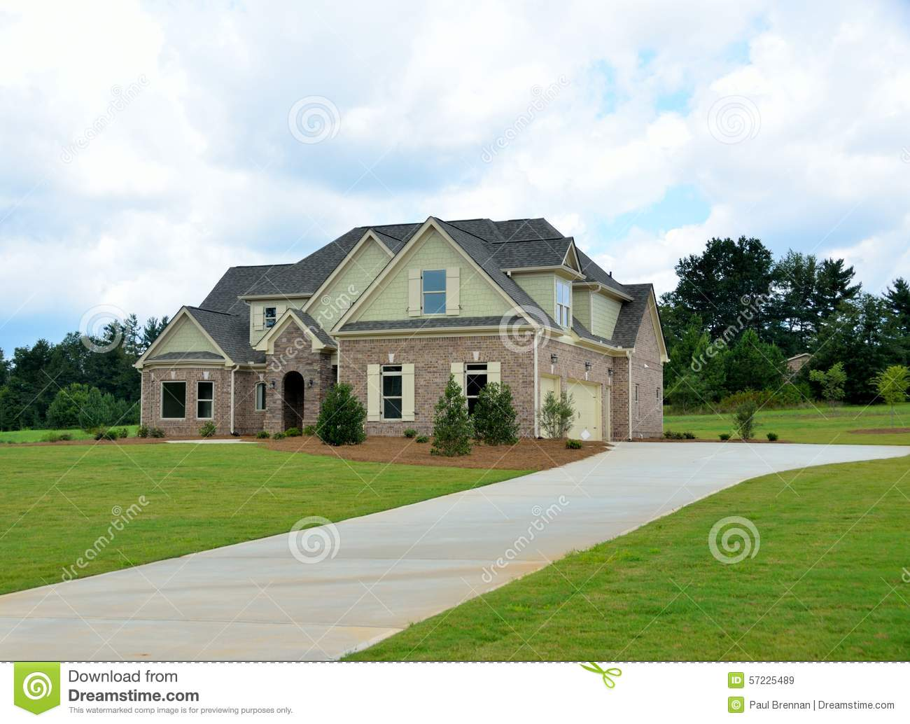 New two story brick home in georgia usa stock image for Roof height of 2 story house