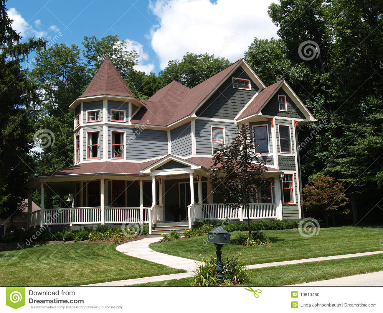 New Two Story Victorian Historical Styled Resident Stock