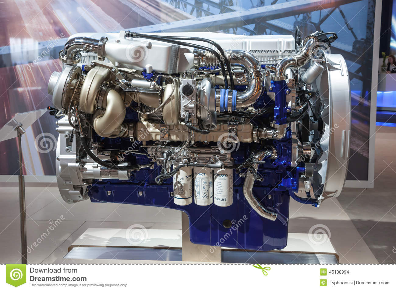 New Volvo Diesel Engine D16 Euro 6 Editorial Stock Image