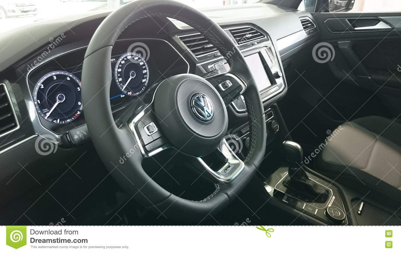 new vw tiguan cockpit interior editorial stock image image 73889674. Black Bedroom Furniture Sets. Home Design Ideas