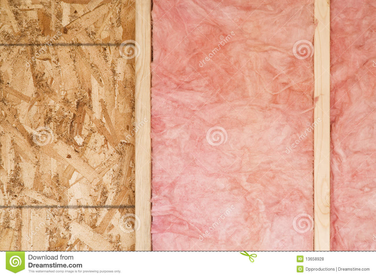 New Wall With Fiberglass Insulation Royalty Free Stock
