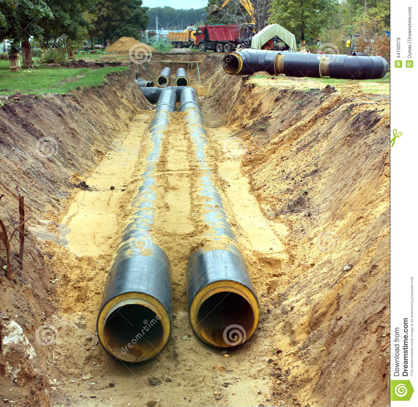 New water pipes mounting in a ground on a cloudy day stock for New water pipes