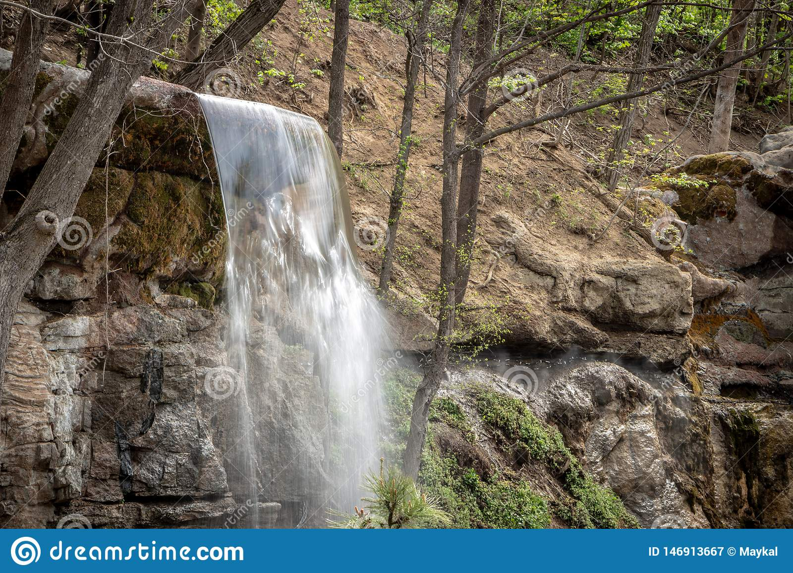 New waterfall in Sophia old dendropark, in the city of Uman, Ukraine