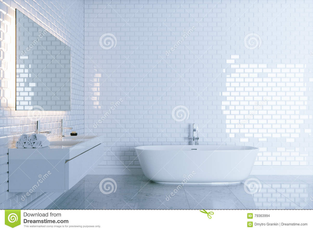 New White Bathroom With Big Ceramic Bathtub View 1 . 3d Render Stock ...
